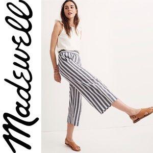 ❤️ Madewell Huston Pull On Crop Pants in Stripe M